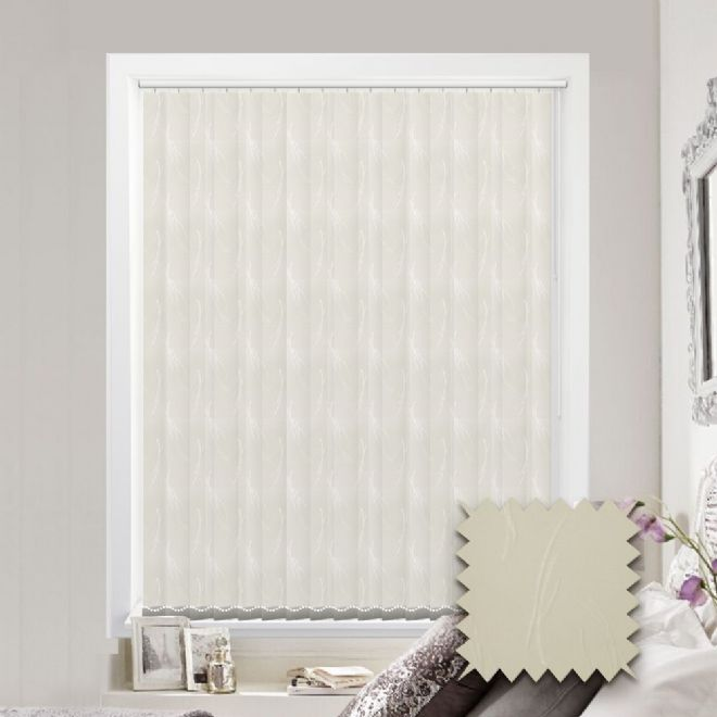 Made to measure vertical blind in Spirit Cream Fabric - Just Blinds